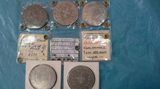 Kingdom of Italy - 5 Lira coins from 1871-1877, Vittorio Emanuele II (5 coins) - Silver