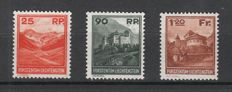 Liechtenstein 1933 – postage stamps countryside and mountains – Michel 119-121