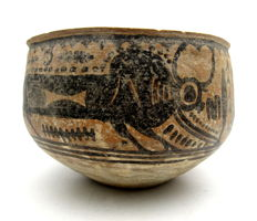 Indus Valley Painted Terracotta Bowl with Bull Motif - 125x83 mm