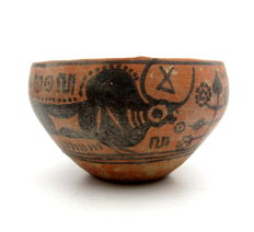 Indus Valley Painted Terracotta Bowl with Bull Motif - 115x65 mm