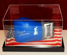 Earnie Shavers a.k.a. 'Puncher of the Century' autographed Lonsdale Boxing Glove in Display Case + Certificate of Authenticity