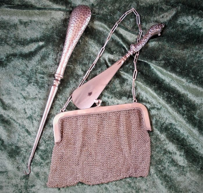 Antique Solid Silver ladies mesh bag with shoe horn and boot hook