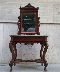 Vanity mirror made of solid carved walnut wood with grey marble top - 20th century
