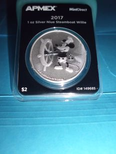 Mickey Mouse - 2 Dollar - 1 oz. Silver Proof in APMEX - Slab with I.D. Number 149685 (2017)