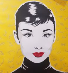 Antonio de Felipe - Audrey Hepburn with a yellow background