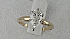 1.01 ct VS2 pear diamond ring 14 kt yellow /white gold - size 6,5