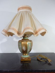 "Hugues Rambert - Ceramic Lamp with ""Jouponné"" Couture Shade - France - 1990s"
