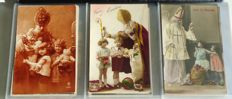 Sinterklaas and Santa Claus cards - Happy New Year - 96 pieces - 1900 up to approx. the 20s/30s