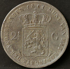 Netherlands – 2½ guilders 1861a Willem III – silver