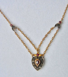 Victorian necklace with pendant with 12 diamonds and 4 rubies made of 585 / 14kt gold and 925 silver, circa 1850
