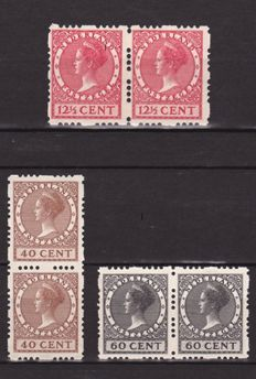 The Netherlands 1928 - Four-sided syncopated perforation - NVPH R46, R54 and R56 in pairs
