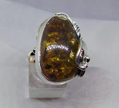 925 Silver Ring with Amber in Art Deco style Size 53