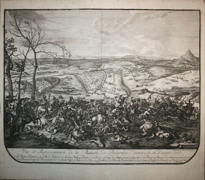 Serbia; Battle of Belgrade - Dumont - Vue et representation de la bataille de Peterwaradin - 1729