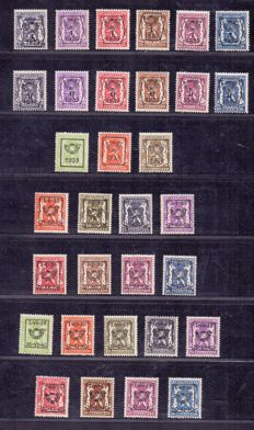 Belgium 1939/1940 - 5 complete series of preos - series 13 through  17 - OBP PRE 405 through 436