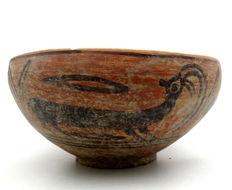 Indus Valley Painted Terracotta Bowl with Deer/Antelope Motif - 178x85 mm