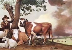 F v d Hoeven (20th century) - De jonge stier (after Paulus Potter)
