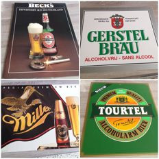 4 advertising signs of Belgian and German beer - 2 of cardboard and 2 of plastic