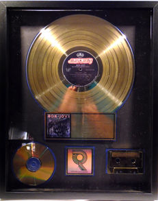 Bon Jovi - Slippery when wet - real US RIAA Gold Award goldene Schallplatte - original Sales Music Record Award ( Golden Record )
