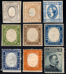 Italy, Kingdom, 1861/1906 - Lot of 9 stamps