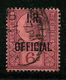 Great Britain 1890 – Queen Victoria official stamp 6 pence IR OFFICIAL – Stanley Gibbons O18