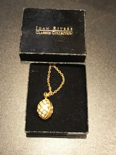 lovely crystal set Easter egg Joan rivers necklace fully signed with bee inside