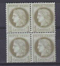 France 1872 - Ceres type issue block of 4 1c olive-green Yvert no. 50