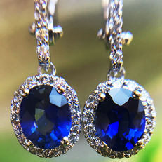 1.84ct Sapphire and Diamond Earrings made of 18 kt white gold - Length of Earrings: 25mm - NO RESERVE -