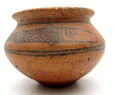 Indus Valley Painted Terracotta Jar With Fish Motif - 125x89 mm