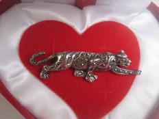 Silver brooch, tiger with marcasite