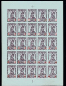 Belgium 1914 - Red Cross - Composition of 24 proofs.