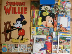 Disney, Walt - approx. 200 assorted Disney items - including Metal Steamboat Willie plate, stickers, posters, colour proofs (1970s/2000s)