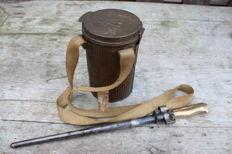 French Gas mask canister 1918 with gas mask complete. and Lebel Bayonet short model