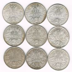 German Empire - 9 x 1 Mark 1906-1915 - silver