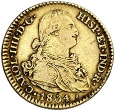 Spain – Carlos IV – 2 escudos gold coin – 1804 – Madrid. FA/MF.