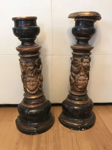 2 polychromed wooden columns - 19th century
