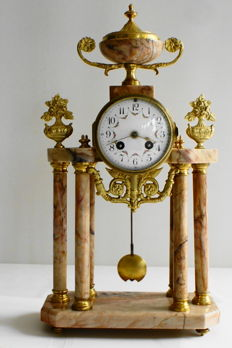 Marble column clock with six columns - Louis XVI Approx. 1880