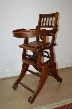 Antique Victorian Metamorphic Childs High Chair - England- 1896