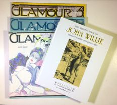 "Glamour magazine 3x volumes + volume John Willie ""Bondage Art 2"" (1985-2000)"