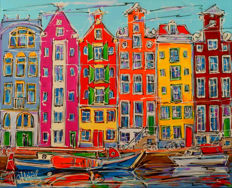 Mathias - Canal of Amsterdam, houses and old boat