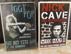 Two Stunning  Metal Two stunning Memorial Concert Signs - iggy Popn & Nick Cave And the Bad Seeds -  iggy pop And Janes Adiction  - Nick Cave the bad seeds  In austin texas -