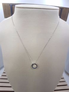 Damiani 18ct White Gold Circle of Life Pendant with Necklace, Necklace Length 50cm & Pendant Length 1cm