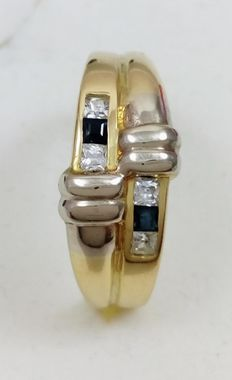 18 kt yellow and white gold ring - weight:.  3 g - No reserve price