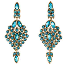 Oscar de la Renta - Signed  Designer  Aqua Blue Crystal Earrings