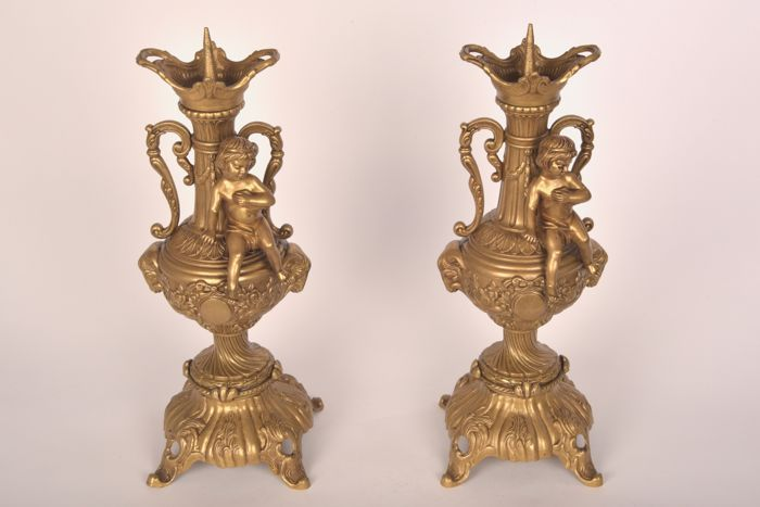 Decorative set antique bronze candlesticks, France - first half of the 20th century