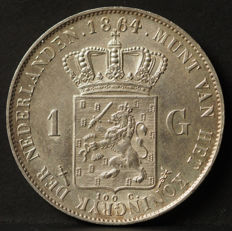 The Netherlands - 1 Guilder 1864 King Willem III - silver