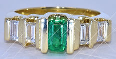 1.34 ct Emerald and Baguette Diamond ring NO reserve price!