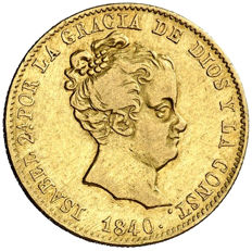 Spain - Isabel II (1833 - 1868), 80 reales gold coin Barcelona, 1840 Assayer P.S.