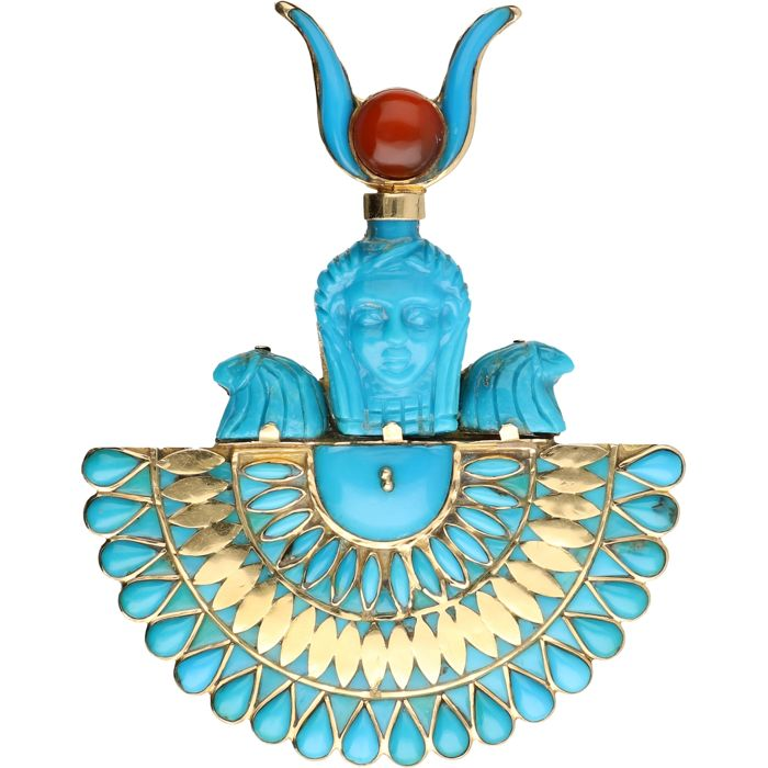 18 kt - Yellow gold elegant pendant set with a cabochon cut carneial, cabochon cut turquoise and cut turquoise - Length: 8.25 cm x Width: 6.5 cm