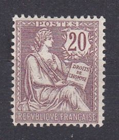 France 1902 - retouched Mouchon 20c brown-lilac - Yvert no. 126