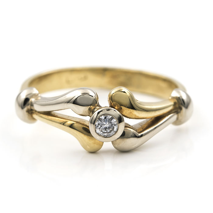 Yellow and white gold 18 kt/750 - Cocktail ring - Set with brilliant cut diamond - Cocktail ring size 13 (Spain)